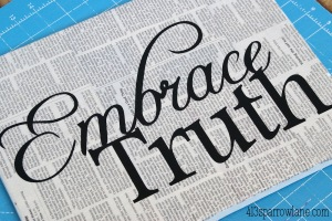 embrace truth newsprint newspaper canvas sign paint mod podge silhouette 11